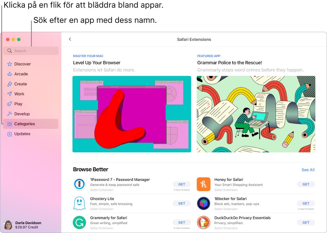 App Store-fönster som visar sökfältet och en sida med Safari-tillägg.