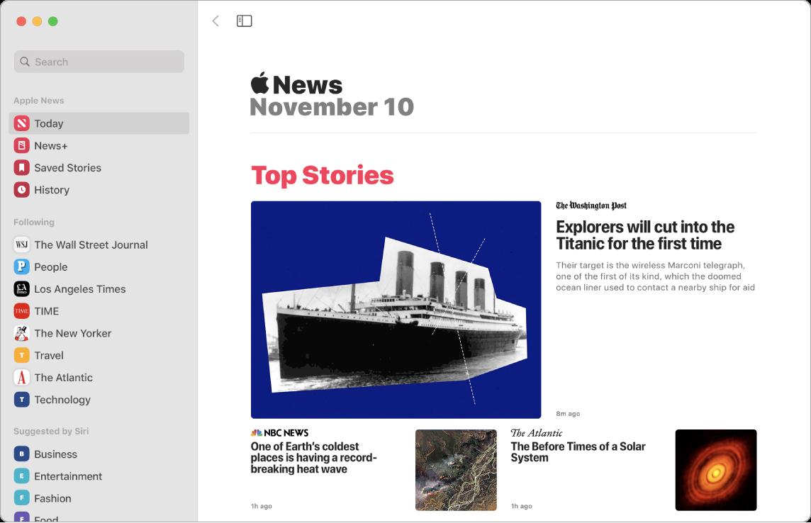 Ett News-fönster som visar visningslistan och Top Stories-vyn.