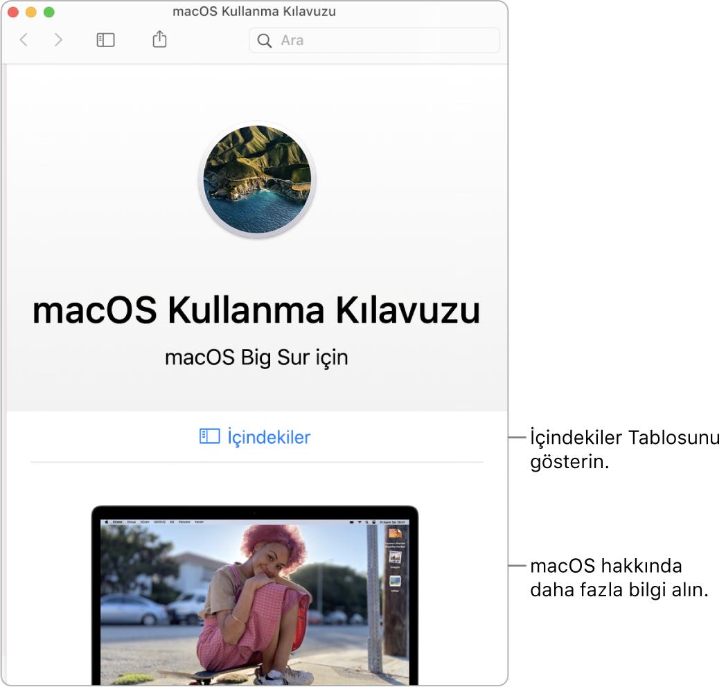 İçindekiler bağlantısını gösteren macOS Kullanma Kılavuzu hoş geldiniz sayfası.