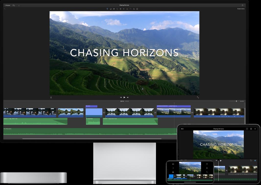 Mac mini, iPad ve iPhone üzerinde görüntülenen benzer içerik.