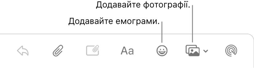 Вікно написання повідомлення з кнопками вставлення емограм і фотографій.