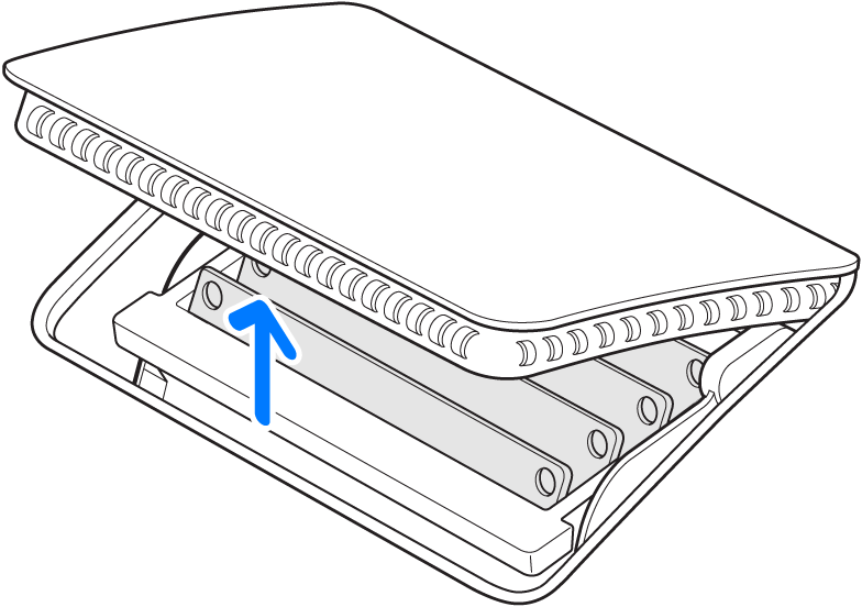 Couvercle du compartiment à mémoire représenté ouvert après qu'on ait appuyé sur le bouton.