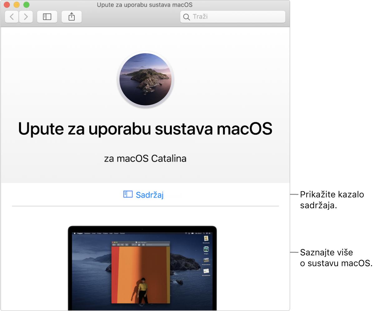 Stranica dobrodošlice za Upute za uporabuzamacOS koja prikazuje link za Sadržaj.