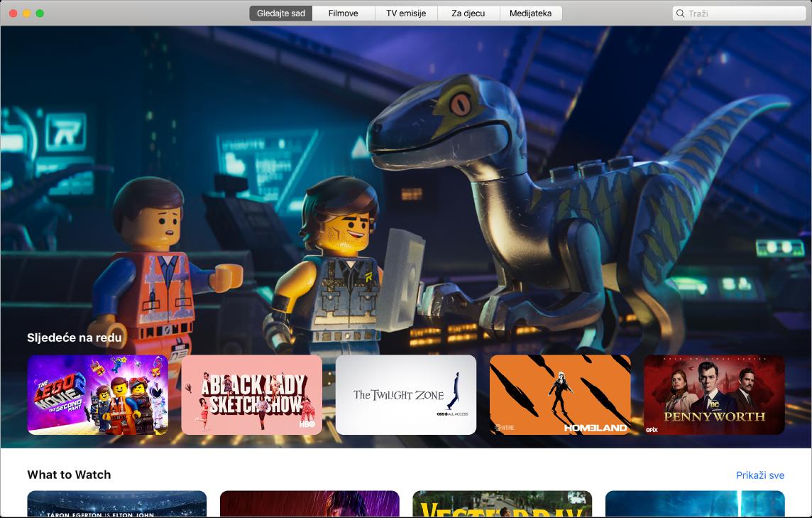 Aplikacija AppleTV s prikazom Gledajte sada.