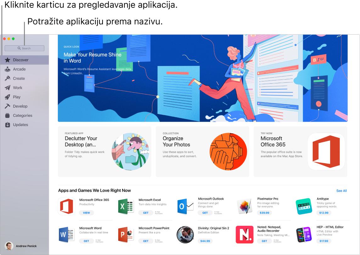 Prozor App Store prikazuje polje za pretraživanje.