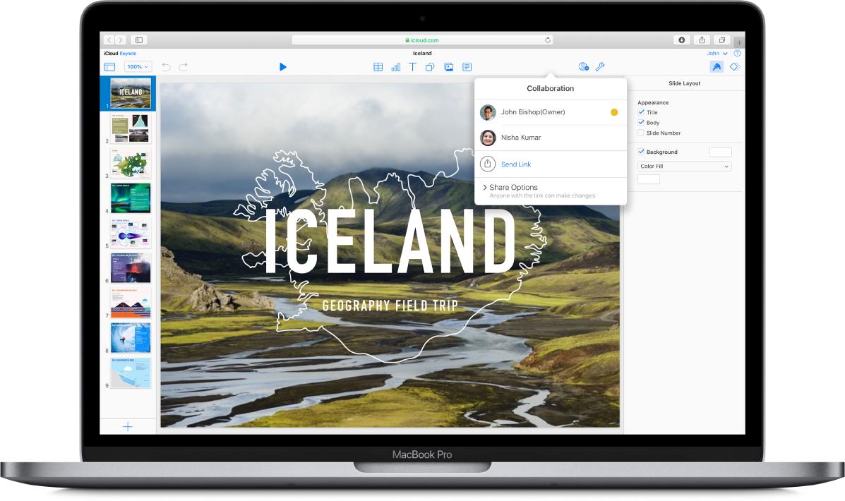 Презентация Keynote под названием «Исландия: учебная экскурсия по географии» на сайте iCloud.com. Открыто всплывающее окно «Совместная работа», указывающее на то, что доступ к презентации есть у двух пользователей.