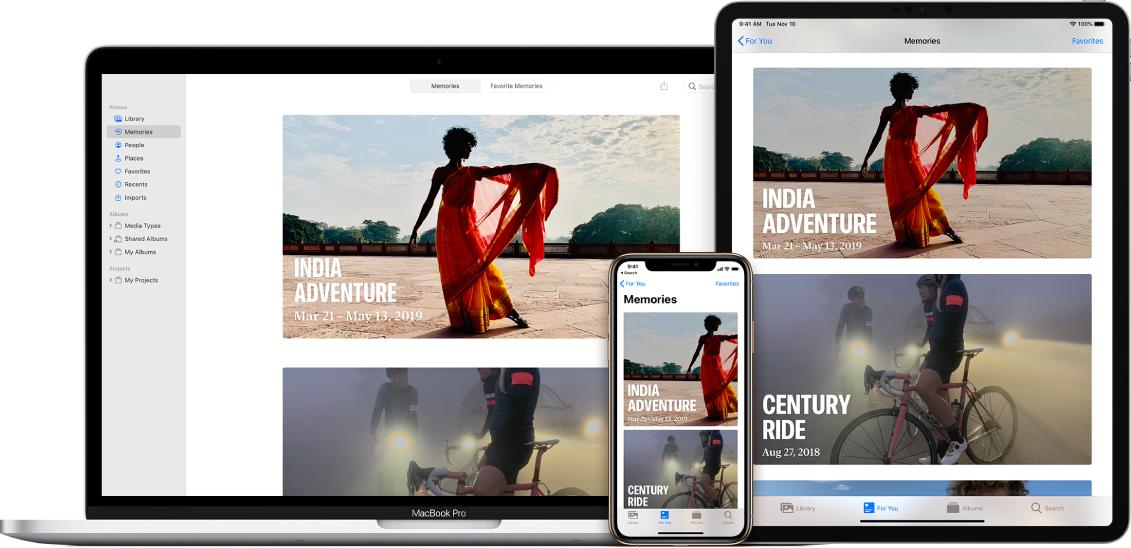 打開「照片」App 的 MacBook Pro、iPad 和 iPhone。每個裝置都會顯示相同的兩個「回憶」:「印度冒險」和「世紀自行車賽」。