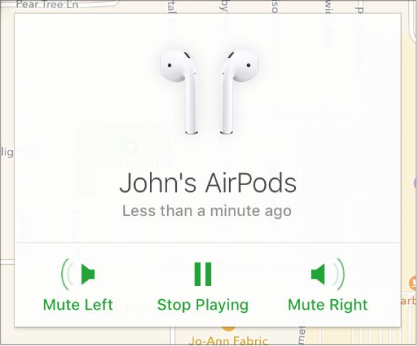 De knoppen 'Geluidlinksuit', 'Stopafspelen' en 'Geluidrechtsuit' bevinden zich in het venster 'Info' van de AirPods.