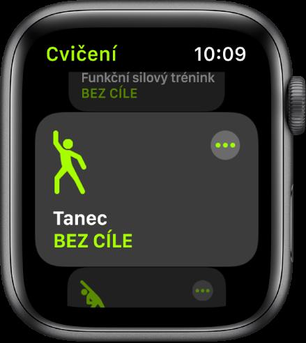 Obrazovka Cvičení se zvýrazněnou kategorií cvičení Tanec