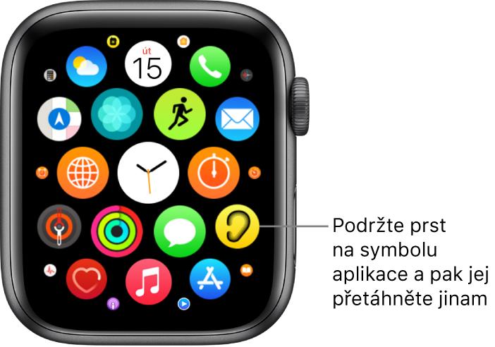 Plocha Apple Watch vzobrazení Mřížka.