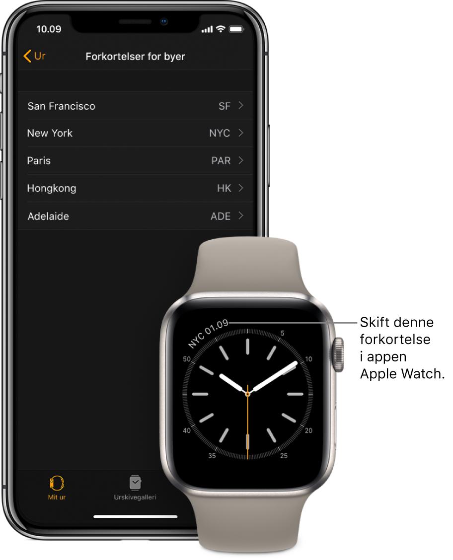 En iPhone og et Apple Watch ved siden af hinanden. Apple Watch-skærmen viser klokkeslættet i New York City vha. forkortelsen NYC. iPhone-skærmen viser listen med byer i indstillingerne til Forkortelser for byer under Ur i appen Apple Watch på iPhone.