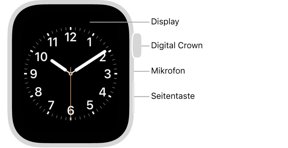Die Vorderseite AppleWatch Series6 mit einem Zifferblatt auf dem Display; an der Seite sind von oben nach unten die Digital Crown, das Mikrofon und die Seitentaste zu sehen.