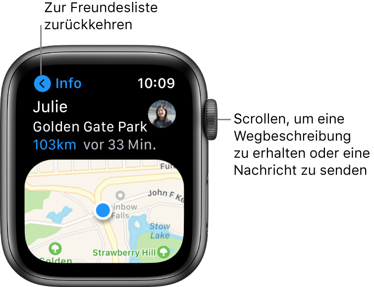 """Ein Bildschirm mit Details zum Standort eines Freundes, einschließlich der Entfernung und des Standorts auf einer Karte. Eine Beschriftung zeigt zur Digital Crown und lautet: """"Scrollen, um Route abzurufen oder eine Nachricht zu senden."""