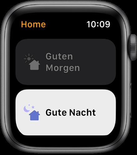 """Die App """"Home"""" auf der Apple Watch mit zwei Szenen – """"Guten Morgen"""" und """"Gute Nacht"""". Die Szene """"Gute Nacht"""" ist hervorgehoben."""