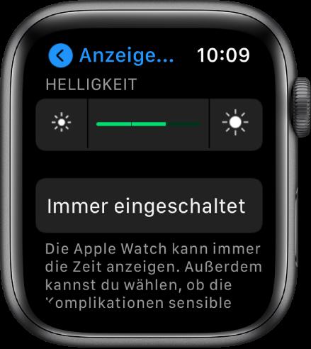 """Helligkeitseinstellungen auf der Apple Watch. Oben befindet sich der Helligkeitsregler, darunter die Taste """"Immer eingeschaltet""""."""
