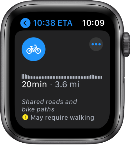 Apple Watch showing cycling directions, including an overview of elevation changes along the route, estimated time and distance, and notes about any issues you may encounter along the way.