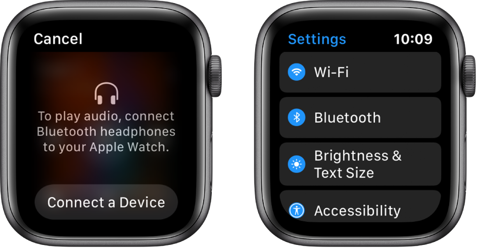 Two screens side by side. On the left is a screen prompting you to connect Bluetooth headphones to your Apple Watch. A Connect a Device button is at the bottom. On the right is the Settings screen, showing Wi-Fi, Bluetooth, Brightness & Text Size, and Accessibility buttons in a list.
