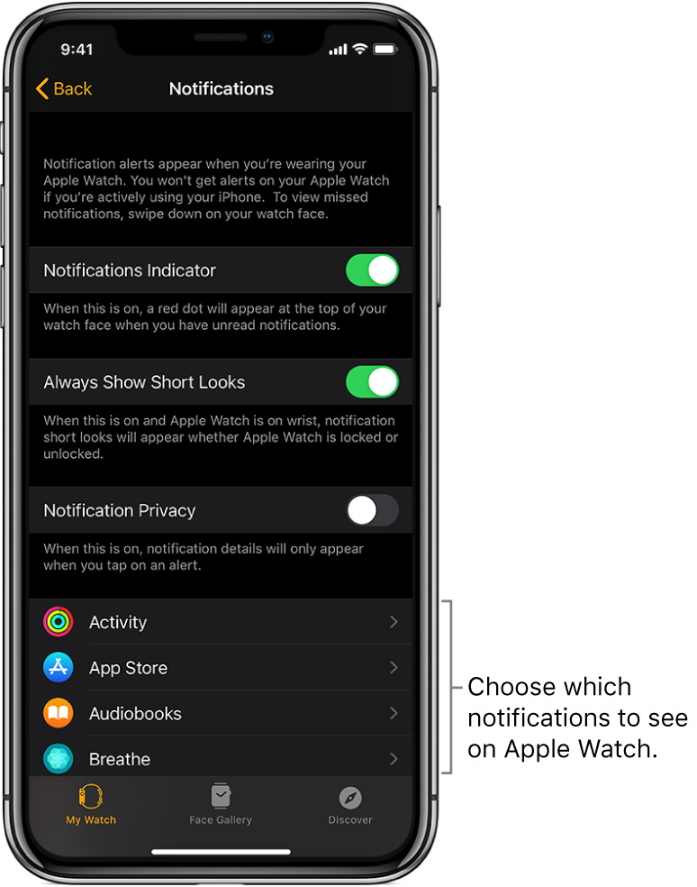The Notifications screen in the Apple Watch app on iPhone, showing sources of notifications.