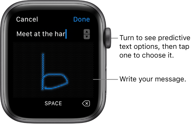 The screen where you scribble a message reply. Predictive text options appear at the top, and you write your message in the center.