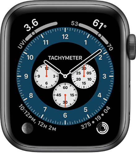 The Tachymeter variation of the Chronograph Pro watch face. It shows four complications: UV Index at the top left, Temperature at the top right, Moon Phase at the bottom left, and Activity at the bottom right.
