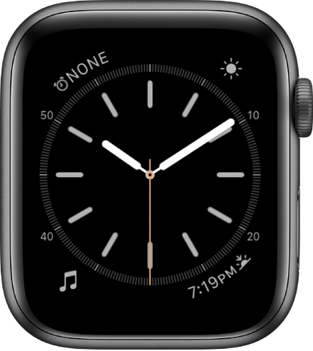 The Simple watch face, where you can adjust the color of the second hand and adjust the numbering and detail of the dial. There are four complications shown: Alarm at the top left, Weather at the top right, Music at the bottom left, and Sunrise/Sunset at the bottom right.