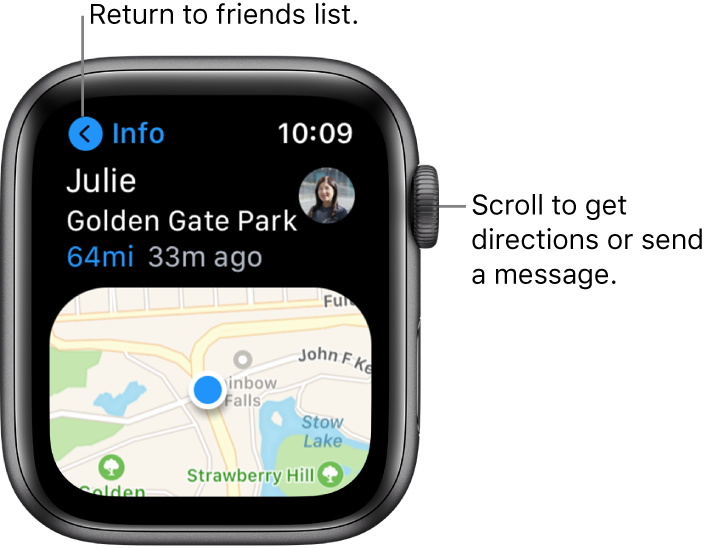 """A screen showing details about a friend's location, including how far away they are and their location on a map. A callout points to the Digital Crown and reads """"Scroll to get directions or send a message."""""""
