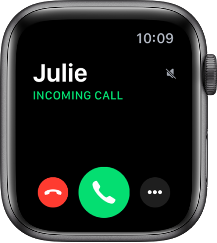 """The Apple Watch screen when you receive a call: the name of the caller, the words """"Incoming Call,"""" the red Decline button, the green Answer button, and the More Options button."""