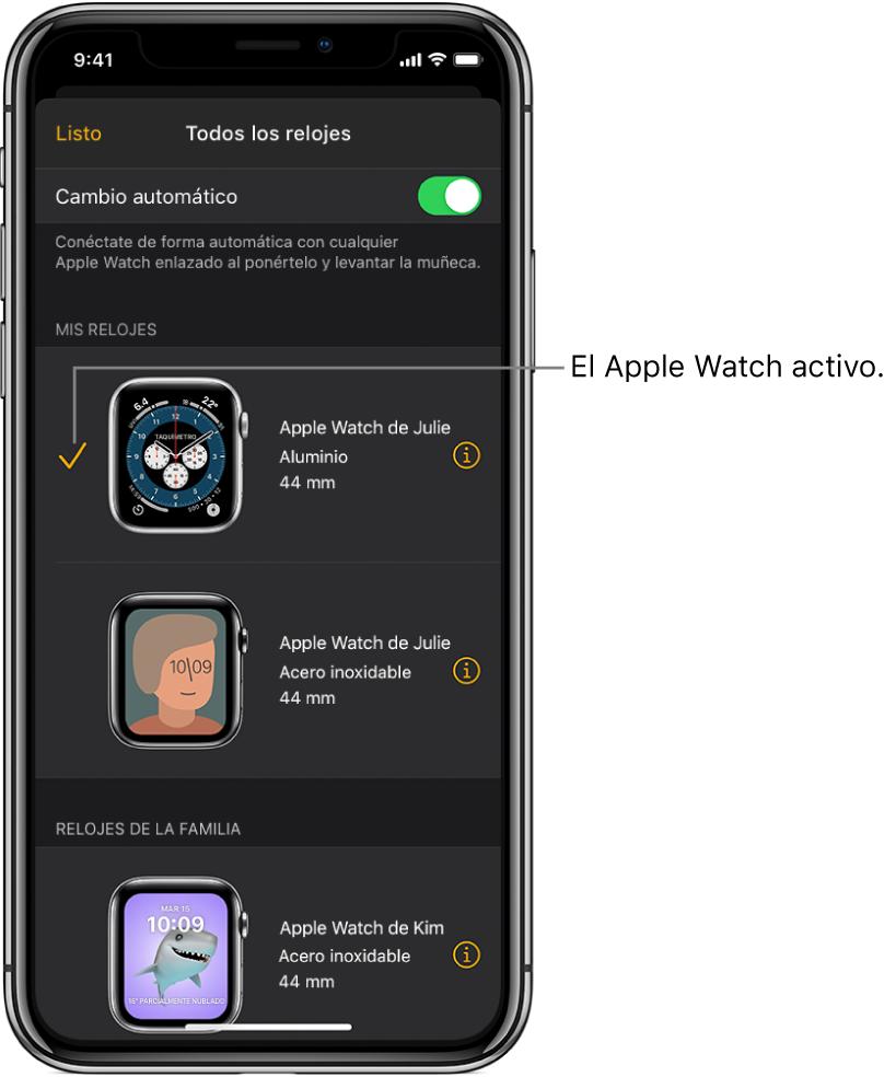 """En la pantalla """"Todos los relojes"""" en la appApple Watch se muestra el AppleWatch activo con una casilla seleccionada."""