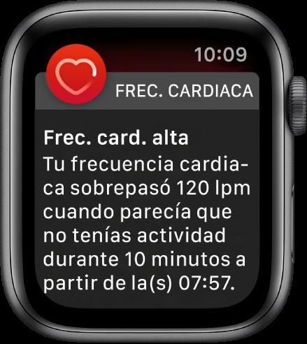 """La pantalla """"Frecuencia cardiaca alta"""" mostrando una notificación que indica que tu frecuencia es mayor a 120LPM cuando llevas 10minutos inactivo."""