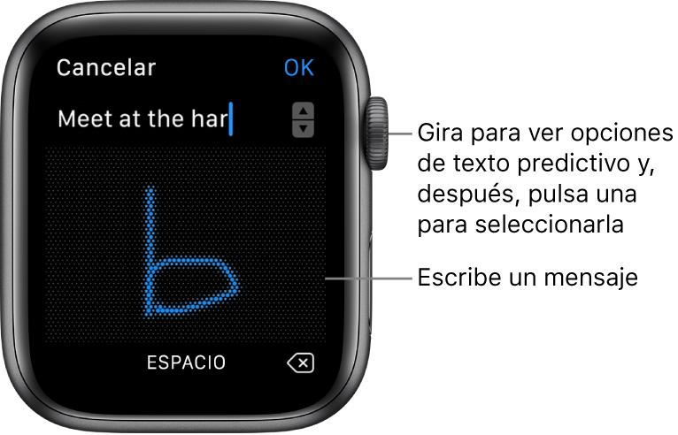 Pantalla donde puedes garabatear una respuesta a un mensaje. Las opciones de texto predictivo se muestran en la parte superior y el mensaje se escribe en el centro.