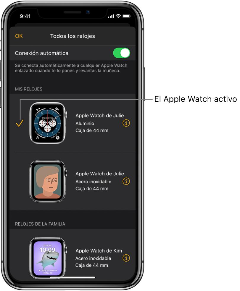 """En la pantalla """"Todos los relojes"""" de la app Apple Watch, una marca de verificación muestra el AppleWatch activo."""