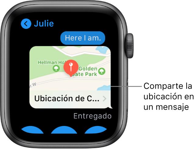 Pantalla de Mensajes en la que se muestra un mapa de la ubicación del remitente.