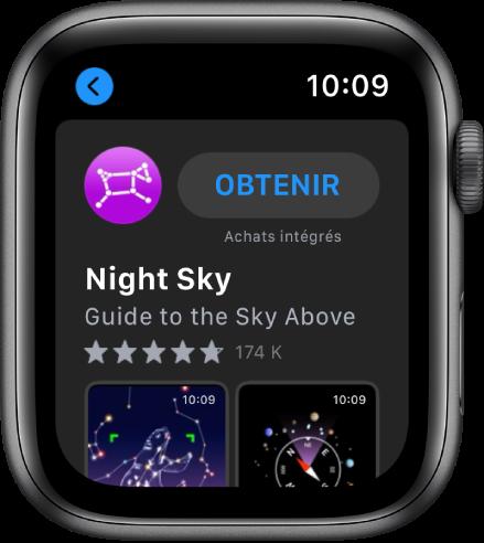 AppleWatch montrant l'app AppStore. Un champ de recherche s'affiche vers le haut de l'écran avec une collection d'apps en dessous.