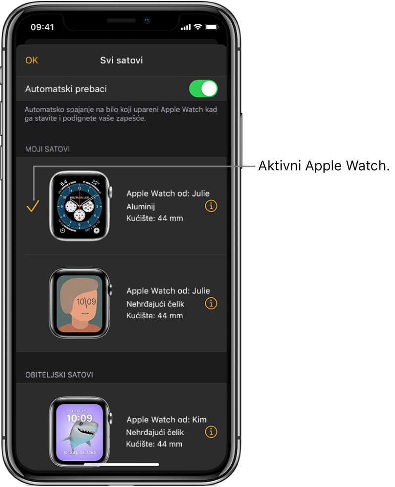 Na zaslonu Svi satovi u aplikaciji Apple Watch kvačica prikazuje aktivni Apple Watch.