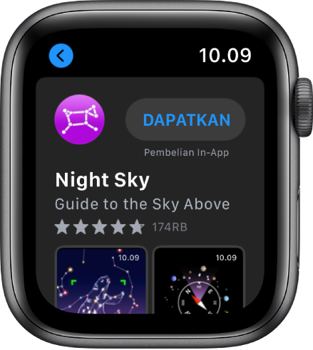 Apple Watch menampilkan app App Store.. Bidang pencarian muncul di dekat bagian atas layar dengan koleksi app di bawahnya.