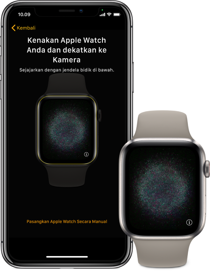 iPhone dan Apple Watch menampilkan layar pemasangannya.