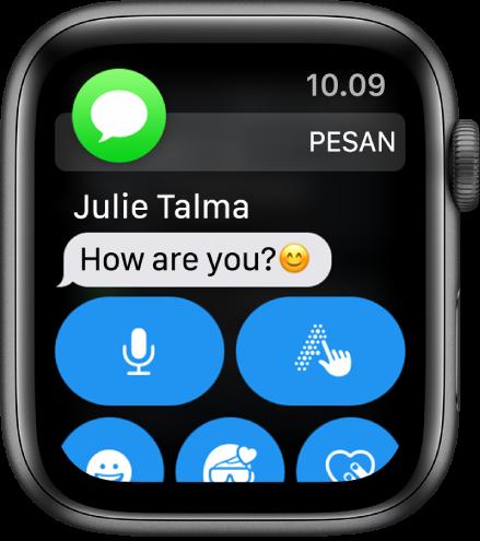 Pemberitahuan pesan, dengan ikon Pesan di kiri atas dan pesan di bawahnya.