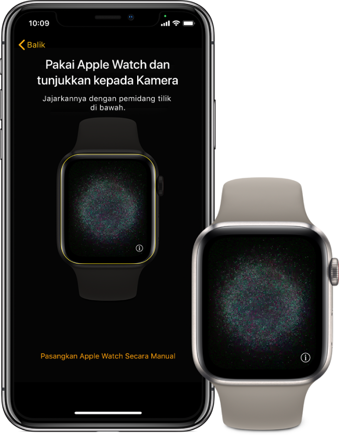 iPhone dan jam bersebelahan. Skrin iPhone paparkan arahan berpasangan dengan Apple Watch terlihat dalam pemidang tilik, dan skrin Apple Watch memaparkan imej berpasangan tersebut.