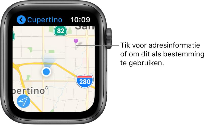De Kaarten-app met een kaart waarop een paarse speld is geplaatst, waarmee je, bij benadering, het adres van een plek op de kaart kunt opvragen of die je als eindpunt voor een routebeschrijving kunt gebruiken.