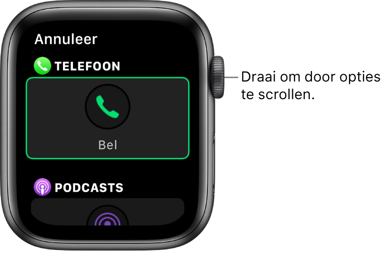 Het scherm voor het aanpassen van een wijzerplaat, waarin de complicatie Telefoon is gemarkeerd. Draai de DigitalCrown om door complicaties te bladeren.