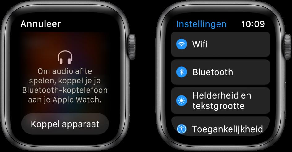 Twee schermen naast elkaar. Links zie je een scherm waarin je wordt gevraagd een Bluetooth-headset op je AppleWatch aan te sluiten. Onderaan bevindt zich de knop 'Koppel apparaat'. Rechts zie je het Instellingen-scherm met een lijst met de knoppen 'Wifi', 'Bluetooth', 'Helderheid en tekstgrootte' en 'Toegankelijkheid'.