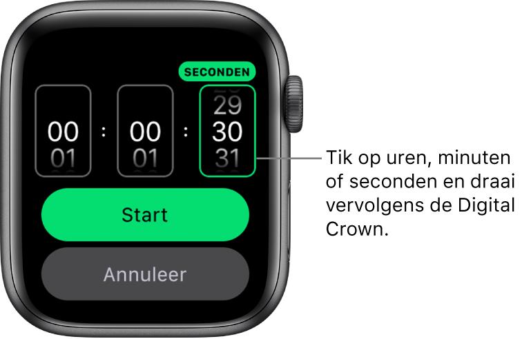 Instellingen voor een aangepaste timer, met links de uren, in het midden de minuten en rechts de seconden. Daaronder staan de knoppen 'Start' en 'Annuleer'.