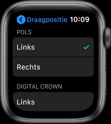 Het Draagpositie-scherm op de AppleWatch. Je kunt instellen om welke pols je de AppleWatch draagt en aan welke kant de DigitalCrown zich bevindt.