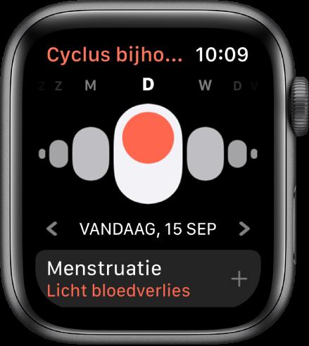 Het scherm Cyclus bijhouden met bovenin de dagen van de week, daaronder de huidige datum en onderin de knop 'Menstruatie'.