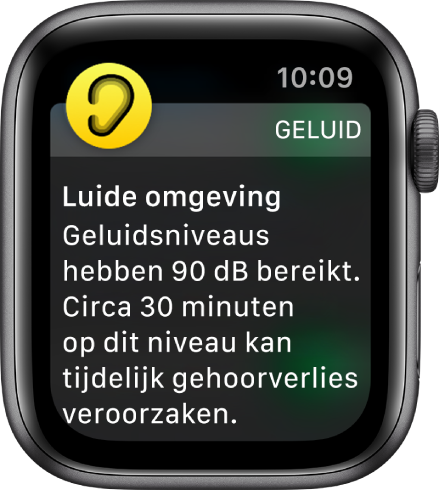 AppleWatch met een geluidsmelding. Het symbool van de app waar de melding bij hoort, verschijnt linksbovenin. Tik erop om de app te openen.