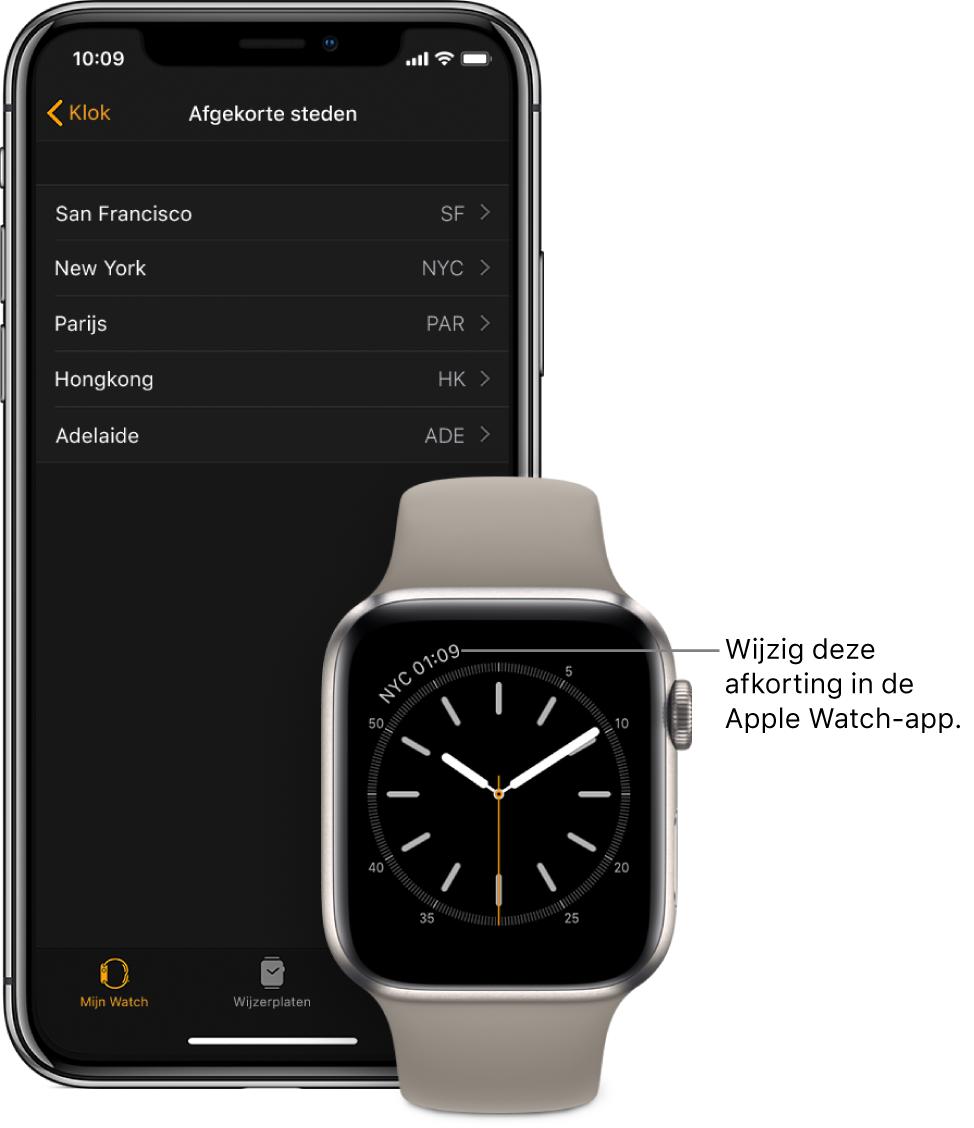 """Een iPhone en een AppleWatch naast elkaar. Op het AppleWatch-scherm is de tijd in New York te zien (aangeduid met de afkorting """"NYC""""). Het iPhone-scherm toont de lijst met steden in 'Afgekorte steden' in de klokinstellingen in de AppleWatch-app."""