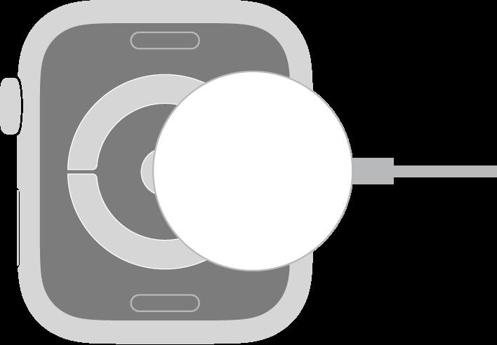 Het holle gedeelte van de connector van de magnetische AppleWatch-oplaadkabel klikt vast tegen de achterkant van de AppleWatch.