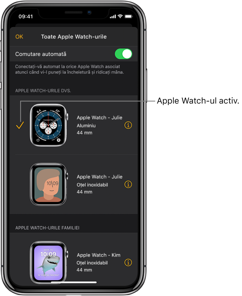 În ecranul Toate AppleWatch-urile al aplicației Apple Watch, o bifă indică Apple Watch‑ul activ.