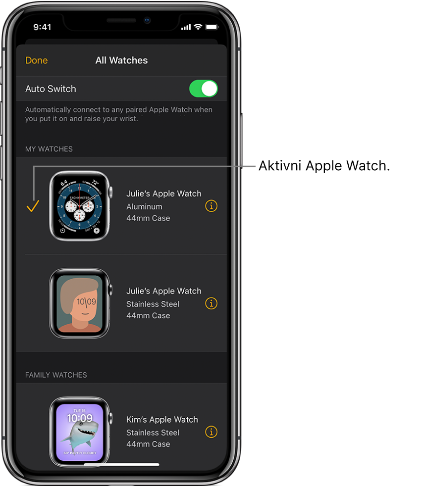 Kljukica na zaslonu All Watches (Vse ure) v aplikaciji Apple Watch označi dejavno uro Apple Watch.