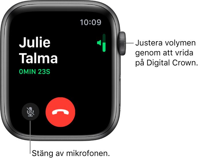 Under ett inkommande samtal visar skärmen en horisontell volymindikator uppe till höger, knappen för ljud av längst ned till vänster och den röda knappen Avvisa. Samtalets längd visas under uppringarens namn.